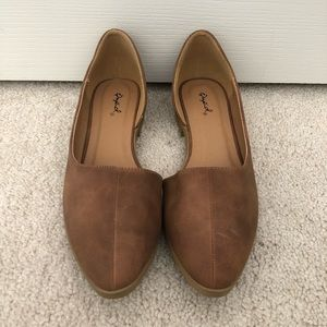 Qupid Open Side Brown Women's Flats